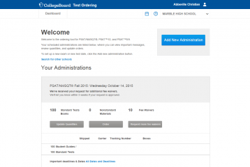 Collegeboard test ordering system